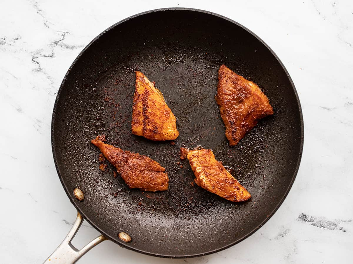 Fish cooked in the skillet