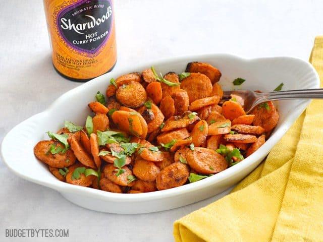 Curry Roasted Carrots - BudgetBytes.com