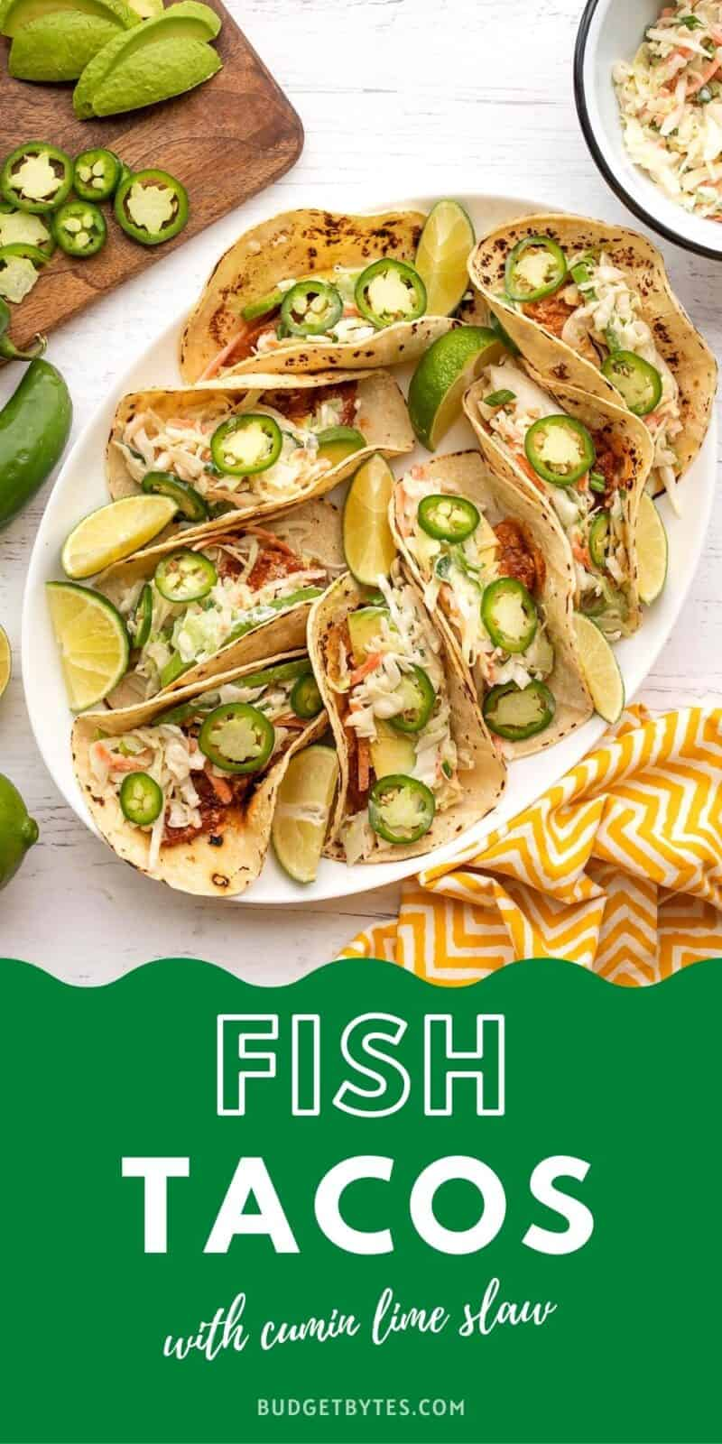 Fish tacos on a platter, title text at the bottom in green