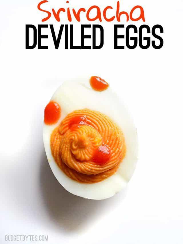 Sriracha Deviled Eggs - BudgetBytes.com