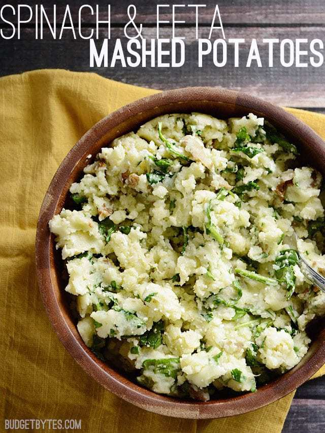Spinach and Feta Mashed Potatoes - BudgetBytes.com