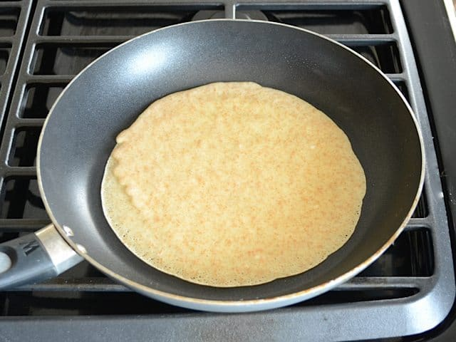 Crepe in skillet on stove top