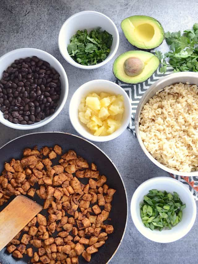 Sweet n Spicy Chicken Bowl Ingredients - BudgetBytes.com
