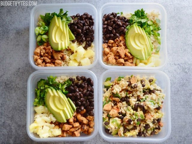Sweet n Spicy Chicken Bowls prepared in four Tupperware containers to save for later