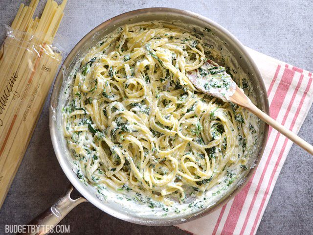 This quick and luxurious Spinach Ricotta Pasta boasts a creamy and garlicky spinach sauce made easy with ricotta cheese. BudgetBytes.com