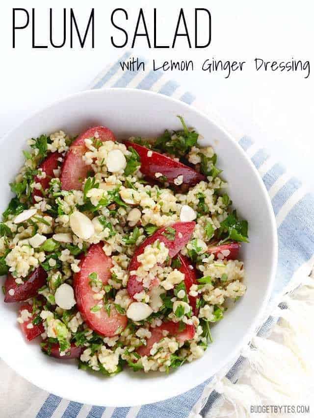 Plum Salad with Lemon Ginger Dressing - BudgetBytes.com