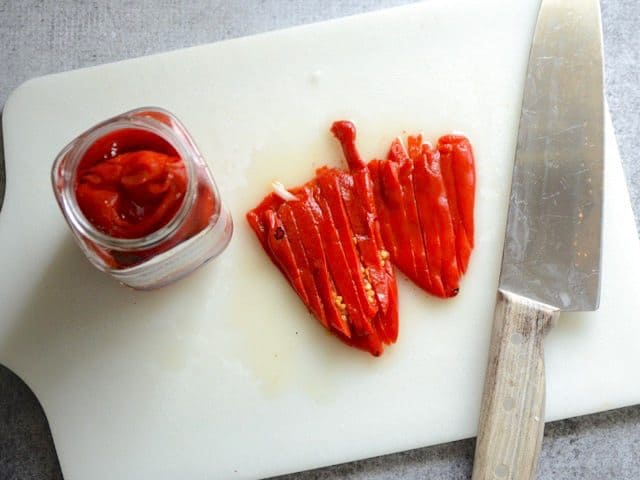 Slice Roasted Red Peppers