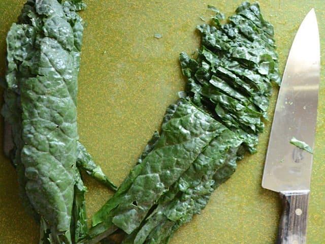 Sliced Lacinato Kale Leaves