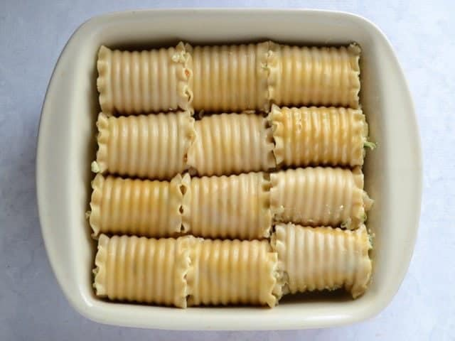 Lasagna Rolls in Casserole Dish