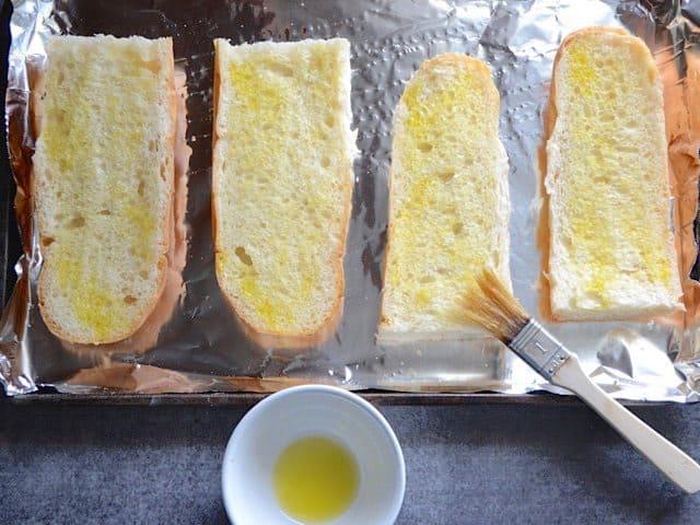 Oil spread on cut Bread