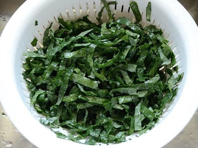 Rinsed Kale in a colander