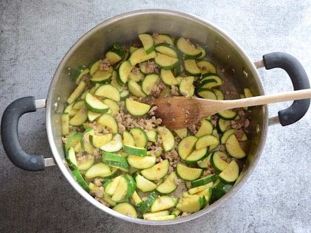 Sautéed Zucchini in the pot with sausage