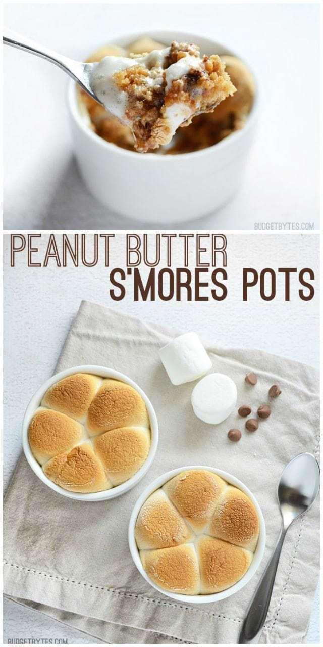 Peanut Butter S'mores Pots - BudgetBytes.com