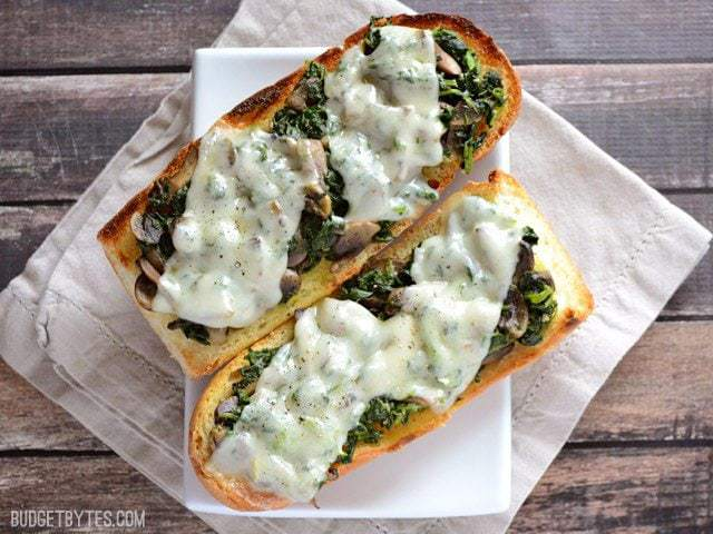 Mushroom Spinach and Swiss French Bread Pizza - BudgetBytes.com
