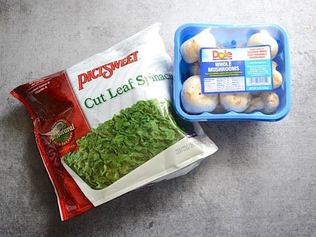 Frozen Spinach Package and a pint of Mushrooms