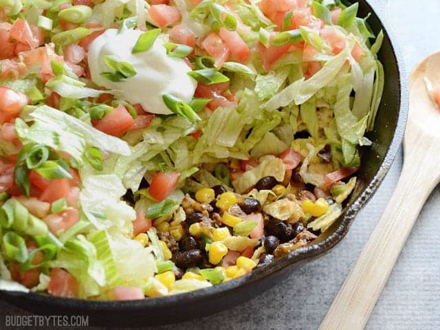 Side view of Taco Salad Skillet with a portion scooped out