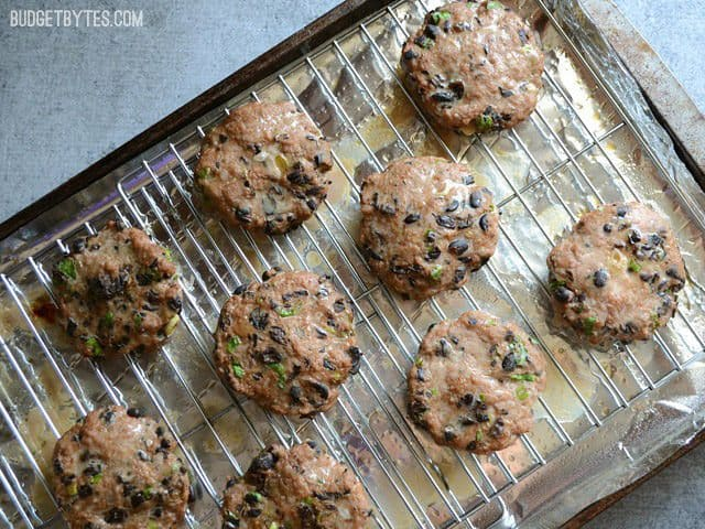 Baked Black Bean Turkey Burgers on the baking sheet