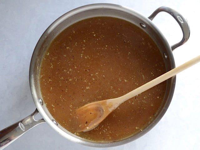Pan deglazed with broth