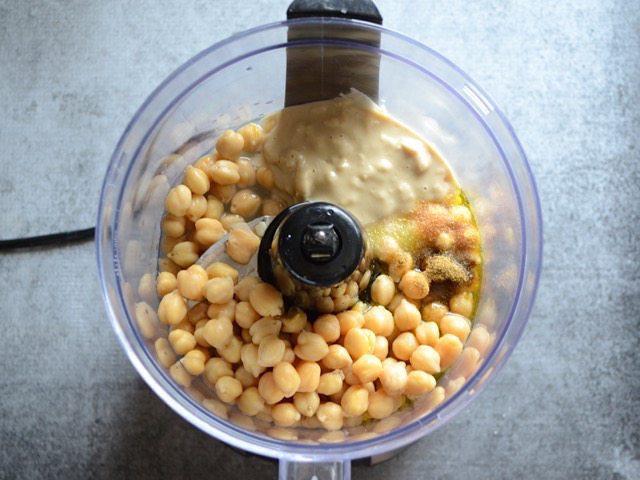 Hummus Ingredients in the food processor