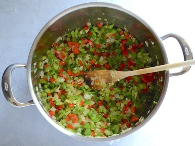 Diced vegetables added to the pot