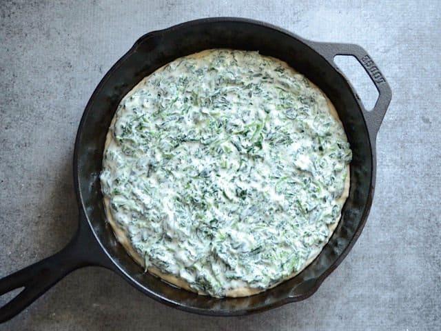 Spinach Cream Sauce on Dough