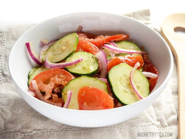 Simple Tomato and Cucumber Salad - BudgetBytes.com