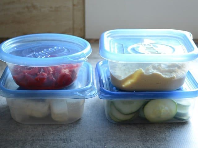 Hummus Wrap Ingredients in individual containers