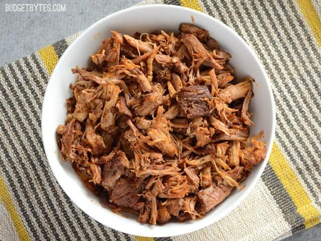 Overhead view of Chili Rubbed Pulled Pork in a bowl