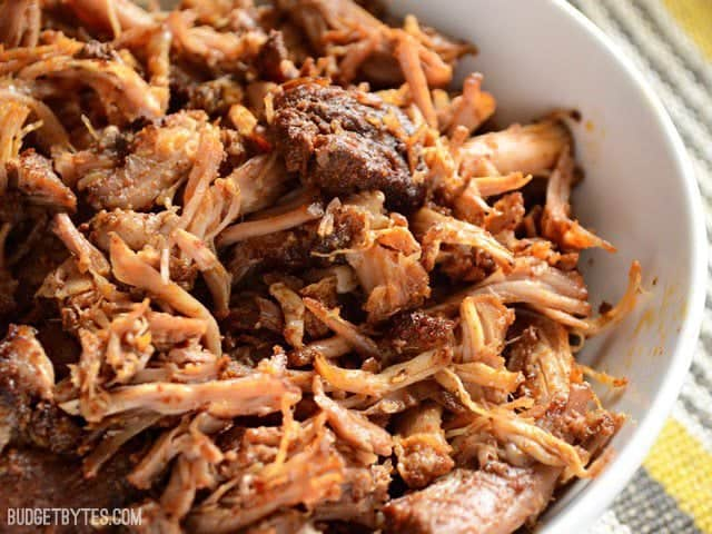 Super close up of Chili Rubbed Pulled Pork in the bowl