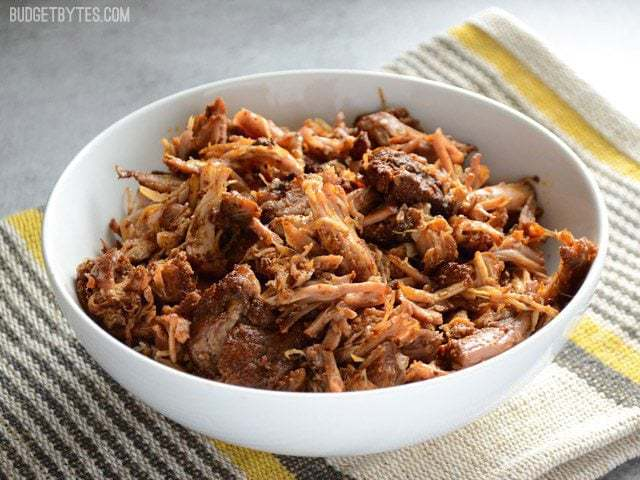 Side view of a bowl of Chili Rubbed Pulled Pork