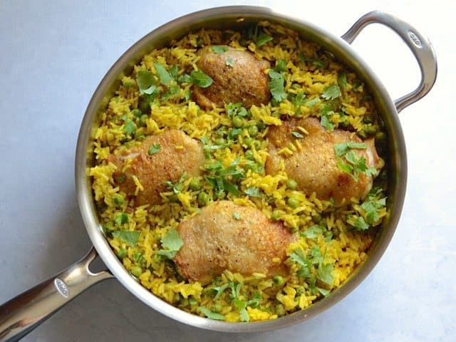 Finished Yellow Rice Chicken Skillet