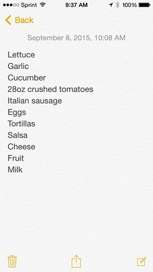 Week 2 Shopping List
