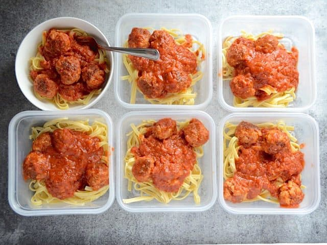 Skillet Meatballs and Marinara portions - Budget Bytes