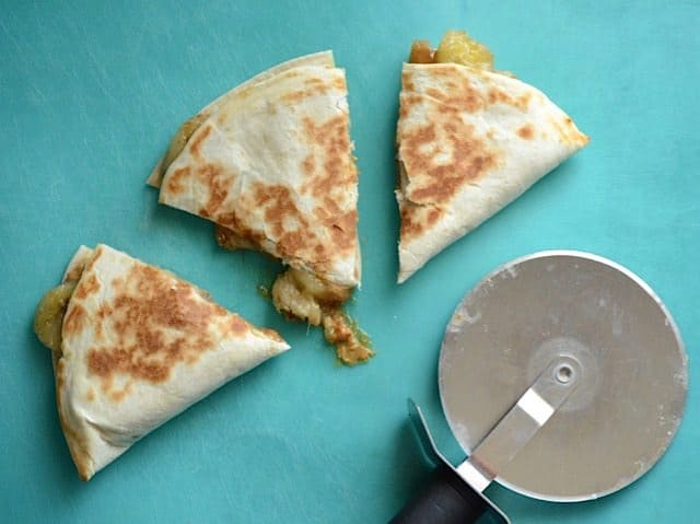 Sliced Caramelized Banana and Peanut Butter Quesadilla - BudgetBytes.com