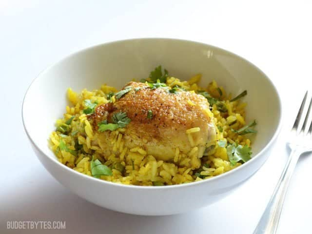 Yellow Rice Chicken Skillet - BudgetBytes.com