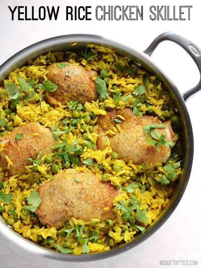 Overhead view of the Yellow Rice Chicken Skillet, title text at the top.