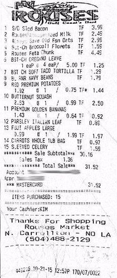 Grocery Receipt 10-21