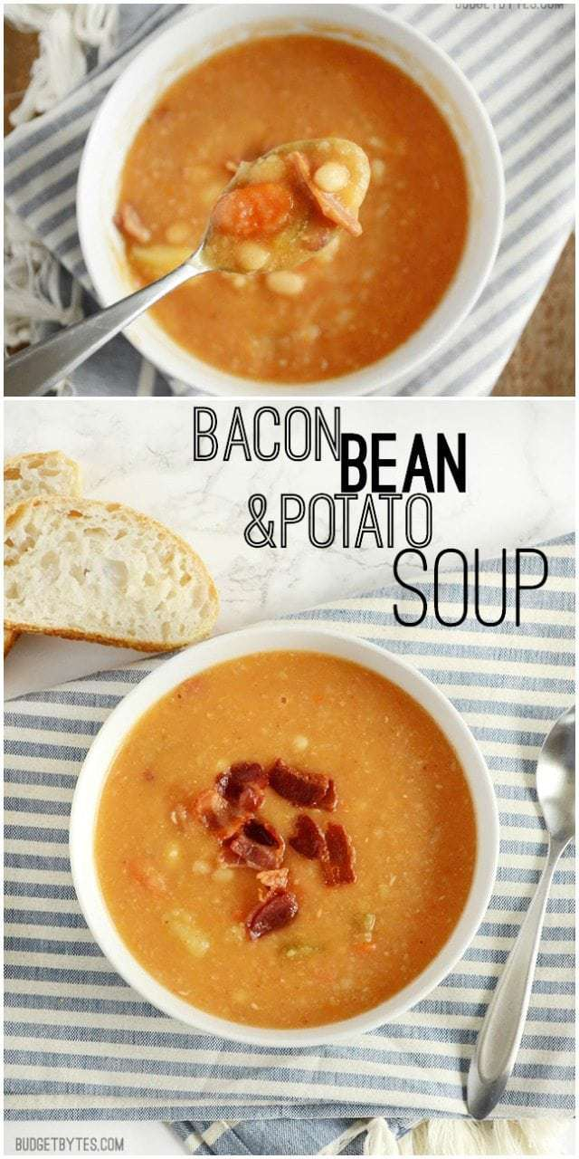 Bacon Bean and Potato Soup - BudgetBytes.com