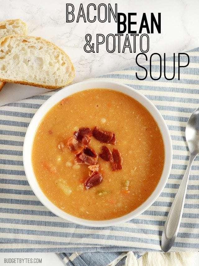 Bacon Bean and Potato Soup - BudgetBytes.com