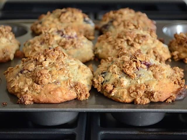 Baked Triple Berry Oat Muffins - BudgetBytes.com