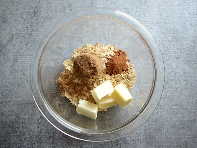 Oat Crumble Topping Ingredients in a glass bowl