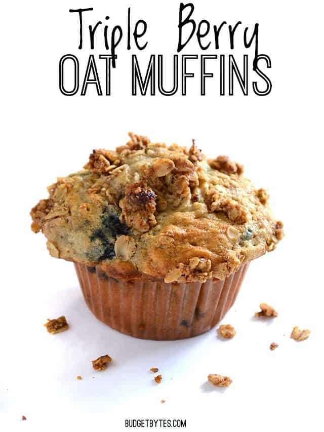 One single oatmeal muffin on a white surface, title text at the top