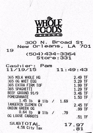 WFM receipt 11-19