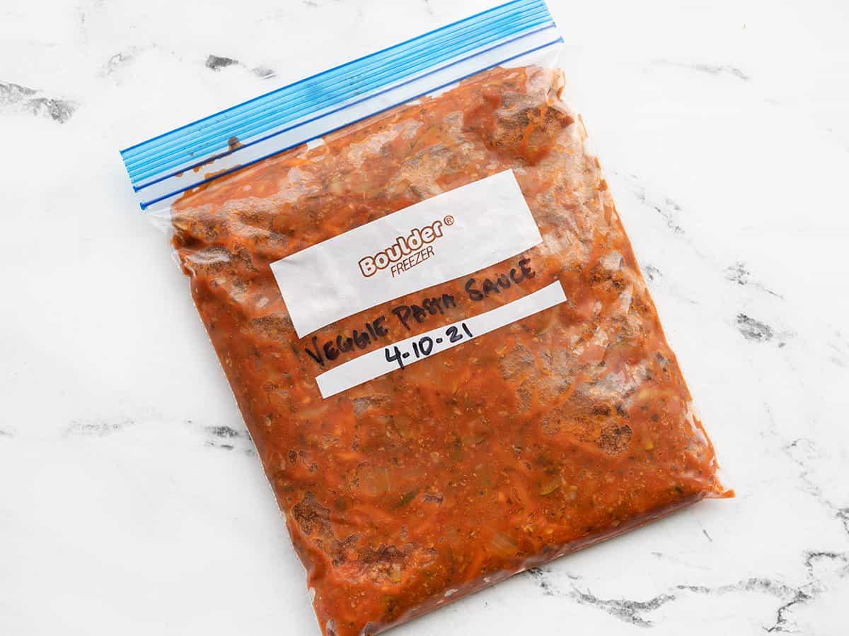Pasta sauce in a freezer bag