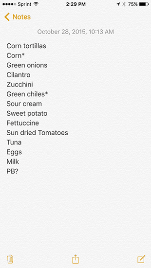 Grocery List 10-28