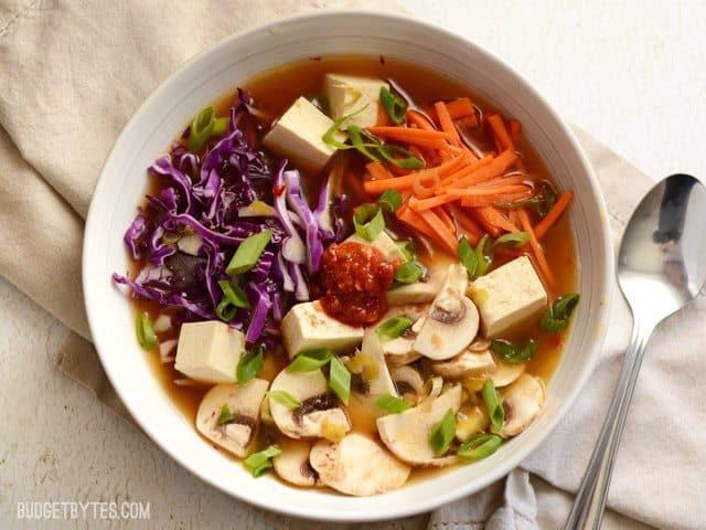 Hot and Sour Vegetable Soup with Tofu - BudgetBytes.com