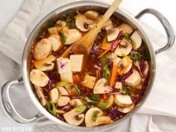 This hot & sour vegetable soup is light on the stomach, but not light on flavor! The spicy and tangy broth infuses the tofu and vegetables for maximum impact. BudgetBytes.com
