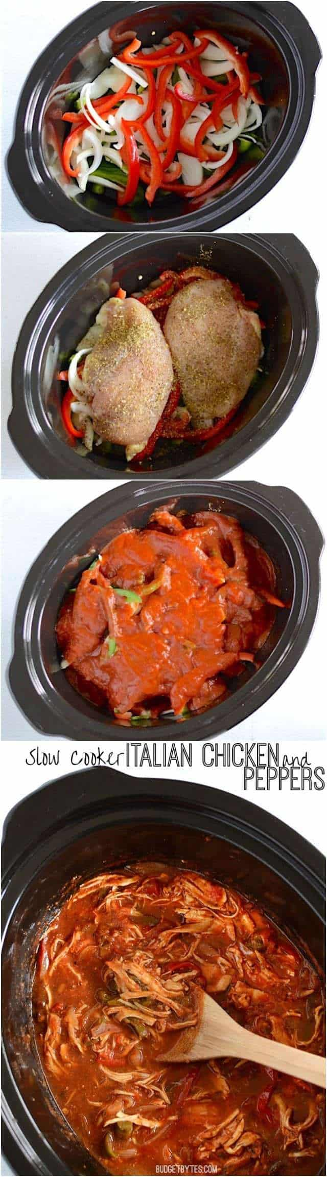 Slow Cooker Italian Chicken and Peppers - BudgetBytes.com