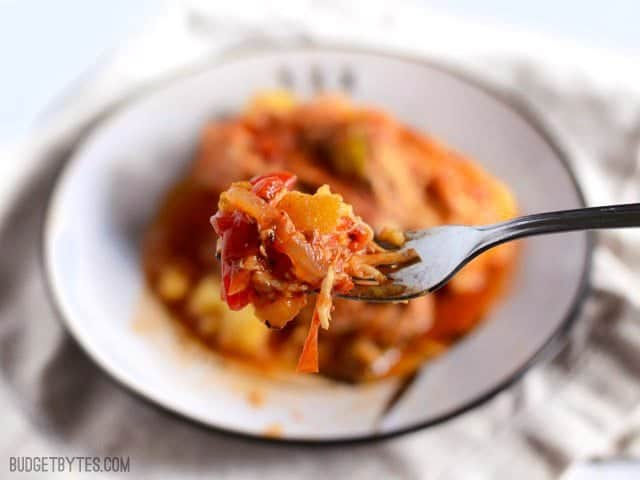Close up of a forkful of Slow Cooker Italian Chicken and Peppers