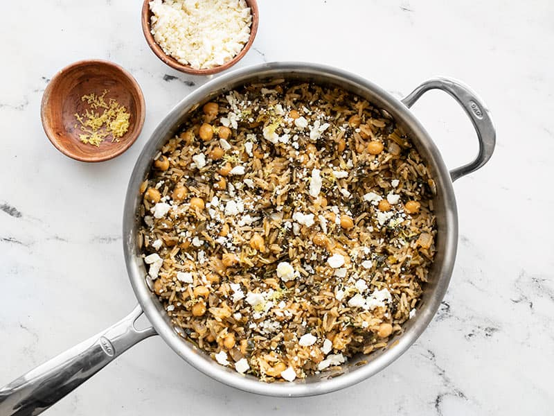 Spinach and Chickpea Rice Pilaf topped with lemon and feta